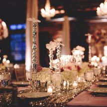 orchids, sequin linens, purple wedding