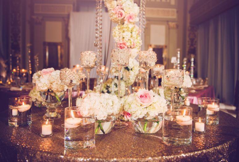 stemware, bling, roses, hydrangeas
