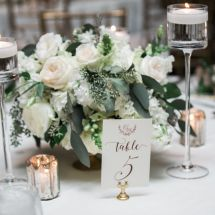 small centerpiece, greenery, candles, roses