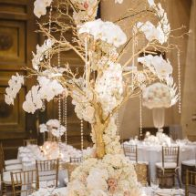 statement piece, tree, orchids, bling