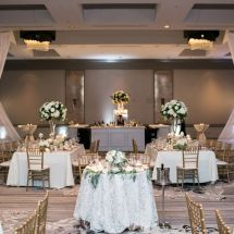 draping, centerpieces, reception