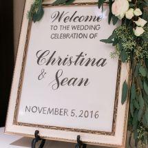 sign, wedding, reception