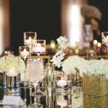 mirror top, floral, candles, reception