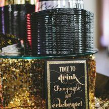 champagne, party hats, nashville wedding