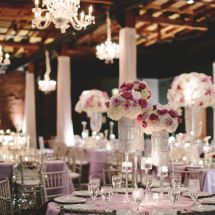 centerpieces, purple, silver, chandelier