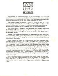 Elliott Murphy - Milwaukee Promo Sheet
