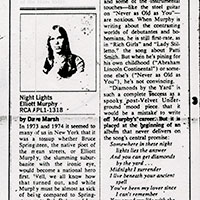 Elliott Murphy - 1975 Rolling Stone Night Lights Review