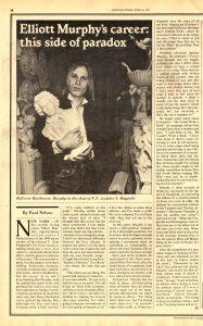 Elliott Murphy - Rolling Stone Feature Article