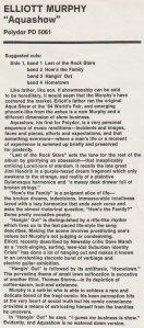 Elliott Murphy - Aquashow Promo LP Insert