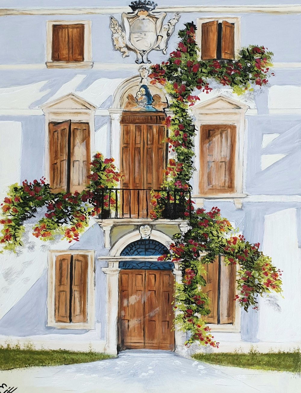 """A grand house in Scala on the Amalfi Coast in Italy, with rambling flowers adorning it's façade. This is a 9x12"""" (A4) premium quality giclée art print from an original oil painting by UK artist Ellisa Hague. Other pieces in this series are available, please visit www.EllisaHagueOriginal.com or visit the Etsy Shop to view them."""