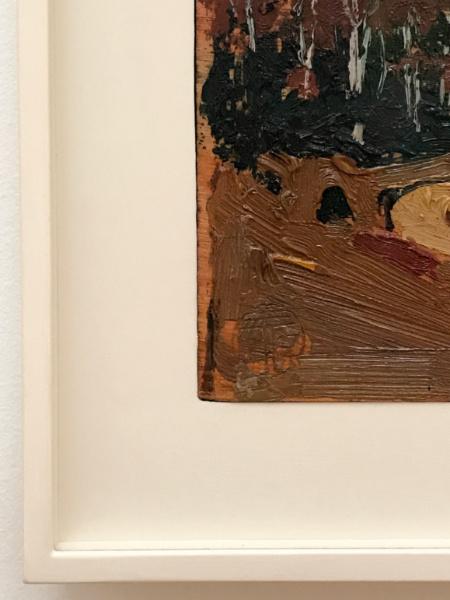 close up of tom thomson oil sketch