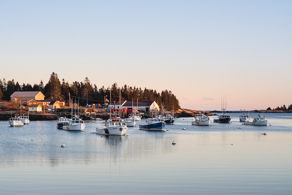 a picture of the sun set over a harbor full of lobster boats
