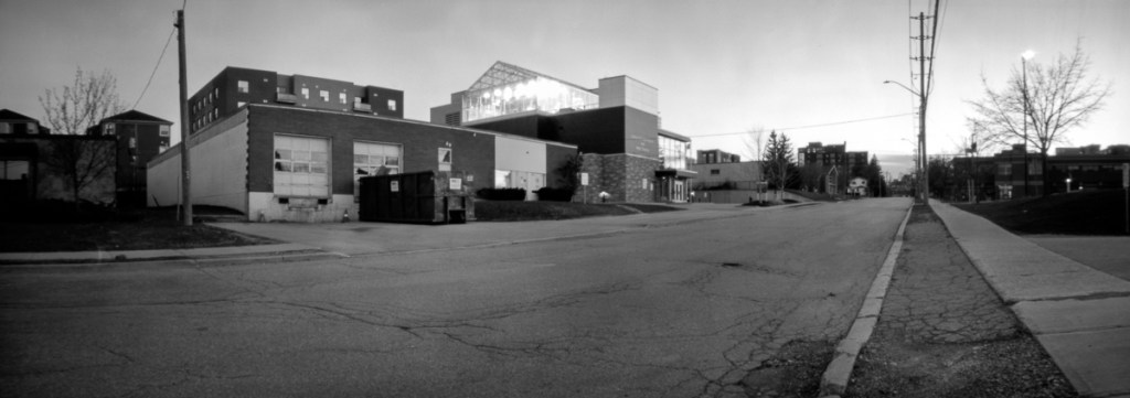 An early photo with the 6x17 Ondurama pinhole camera in Waterloo Ontatrio Canada in 2020. The subject is a greenhouse on the second floor of a university building.