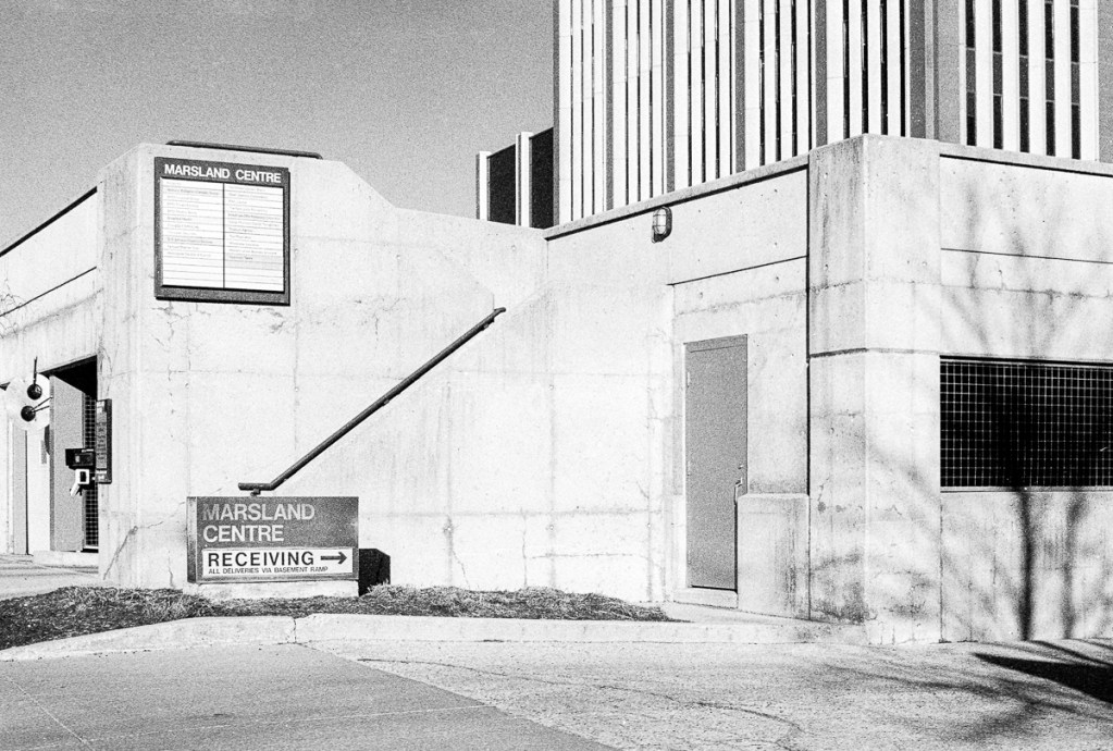 A black and white picture of the Marsland Centre in Waterloo, Ontario