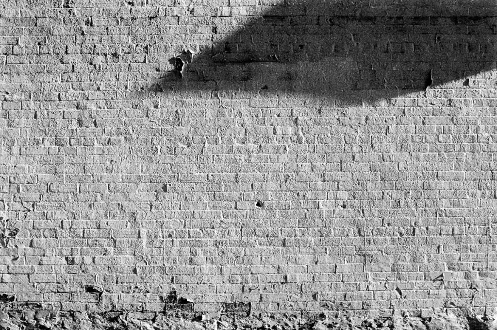 black and white image of a brick wall