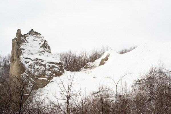 A snowy image of the Scarborough Bluffs.
