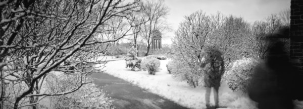 A black and white pinhole image of Victoria Park.