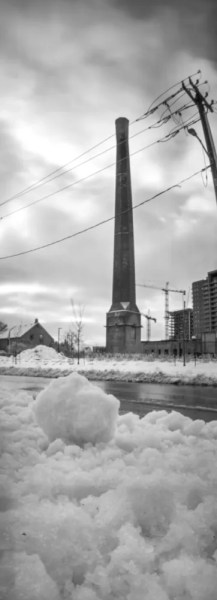 A black and white pinhole image of the Tannery Tower.