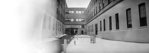 A black and white pinhole image of the Tannery.