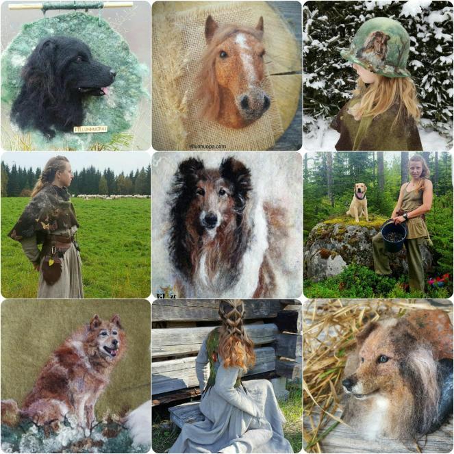 huovutus, ellunhuopa, huovutettu koira, huopikkat, huovutettu, käsityö,