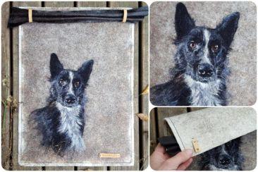 huopataulu, Koira-aiheinen, uniikki, huopataulu, käsityöt, koiran kuva, huovutus, lemmikki