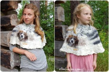 huopavaatteet, lahja, maalaistyylinen sisustus, koiran kuva, koira huopa, huovutus