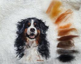Lahja, huovutus, huovutetut eläimet, neulahuovutus, huovutettu koira, felting, dog painting, needle flting dog