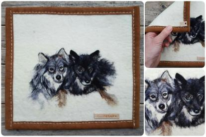 huopataulu valokuvasta, huovutettu taulu koira