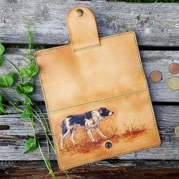 lahja, nahkainen lompakko, koiran omistaja, lammastila