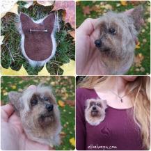 Felted dog brooch | Elena Bondar