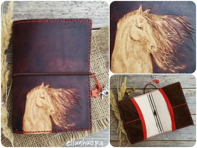 hevonen, lahja, ellunhuopa, nähkatyö, kukkari