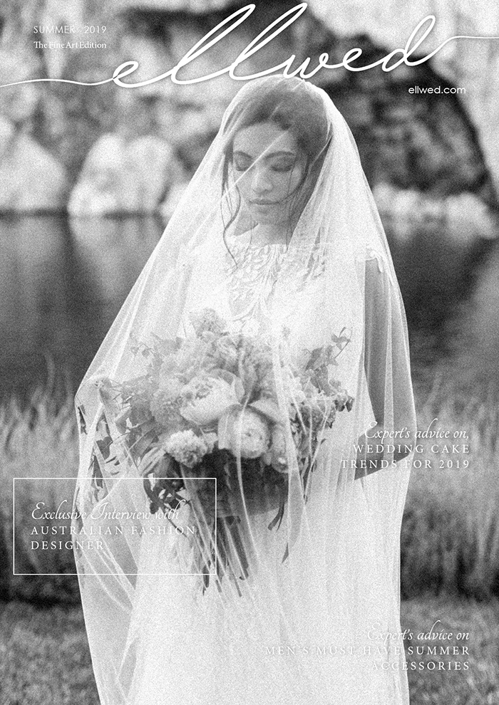 Covered Bride in black and white near the lake SUMMER CORAL LAKESIDE WEDDING