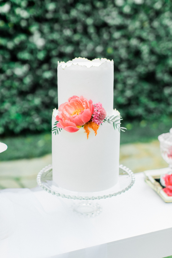 White wedding Cake on the stand