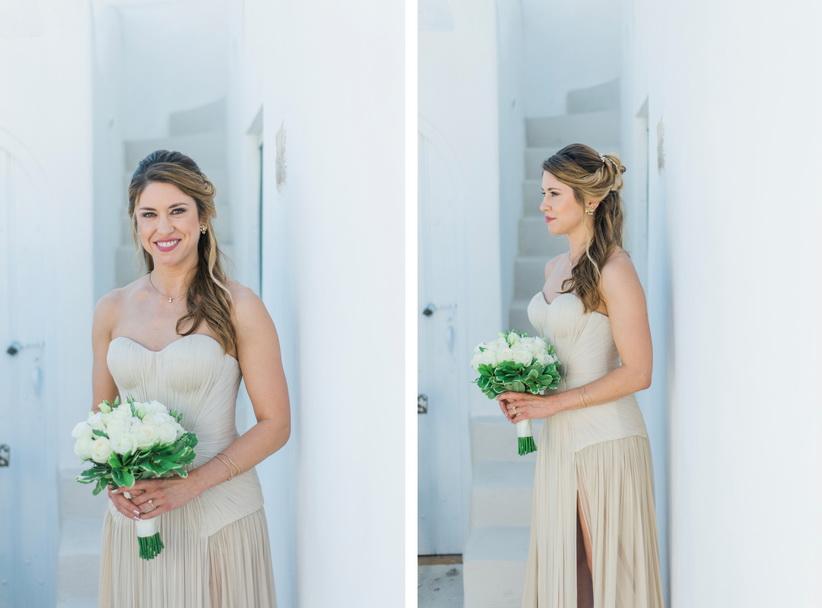 Hellenic Chic Elopement bride in Santorini