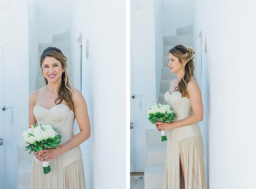 Hellenic Chic Elopement bride in Santorini