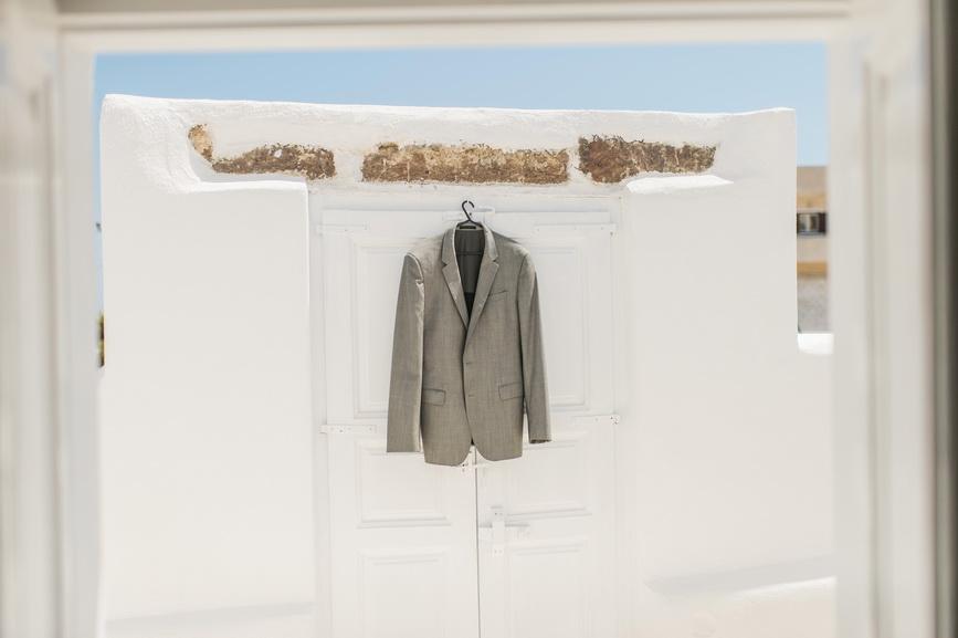 Hellenic Chic Elopement grooms jacket