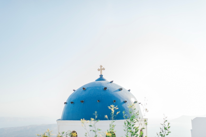 santorini blue church