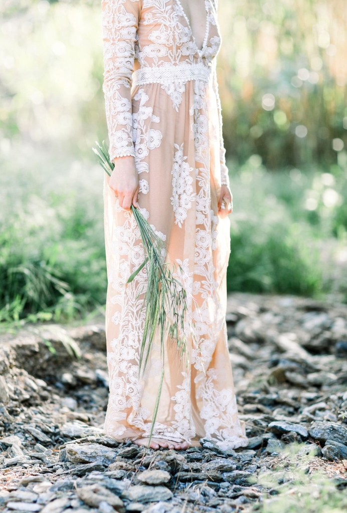 Wedding dress in the forest