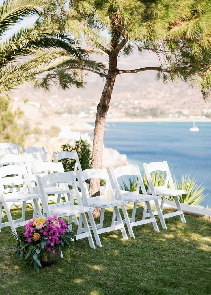 wedding ceremony chair setup at the Fun and colorful modern island wedding