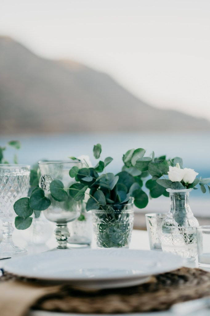 Table setup for two at Anniversary Celebration from the famous island of Spinalonga