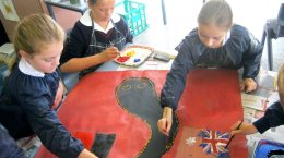 Geelong Baptist College students used paint and symbols.