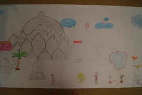 Borobudur Temple featured in Perontakan Primary School's drawing.