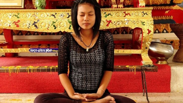 Stress relief techniques-deep belly breaths-girl meditating