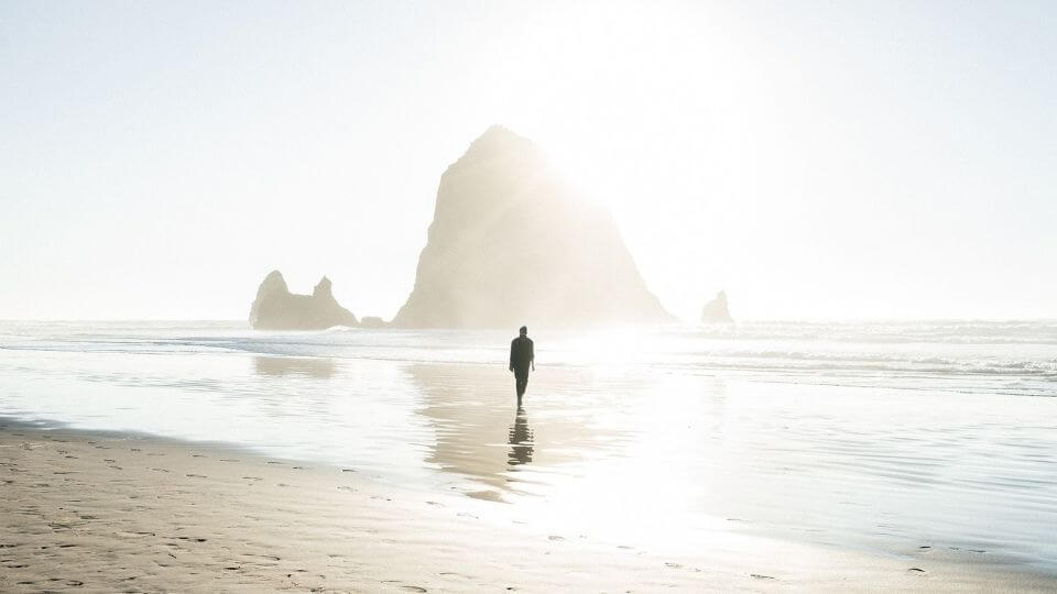 Techniques for relieving stress-go for a walk-man on beach