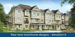 Rear Lane Townhome Design - Elevation A