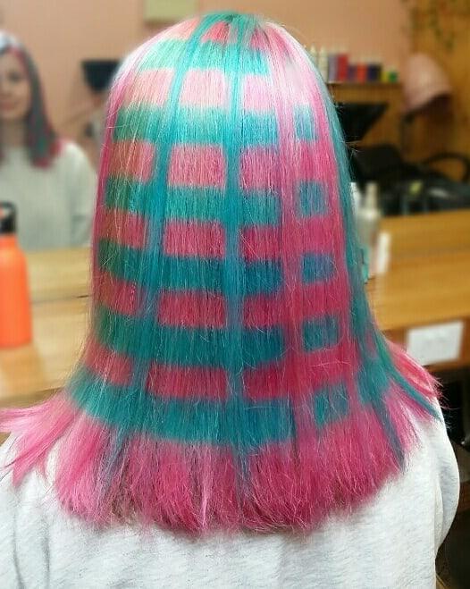 pelo de cuadros colores