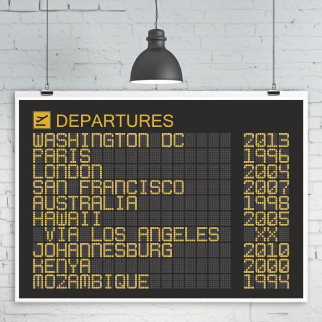 Airport Departures Board Poster
