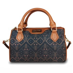 printed black satchel