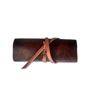 brown saddle leather eyeglass case