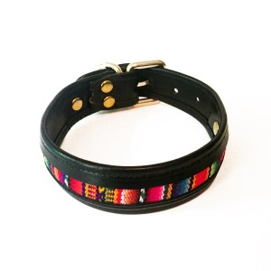 black leather-textile dog collar